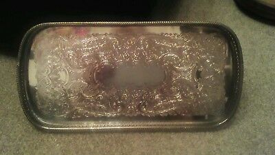 Vintage EPNS Ornate Embossed Oval Gallery Tray