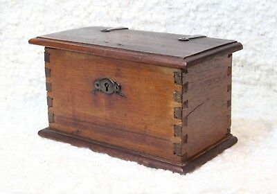 Antique 19th Century Candle Document Dovetailed Box