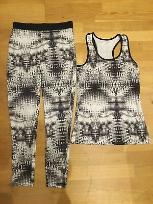Ladies Black White Tie Dye Grey Active Wear Leggings & Vest Size 10-12 Gym Yoga