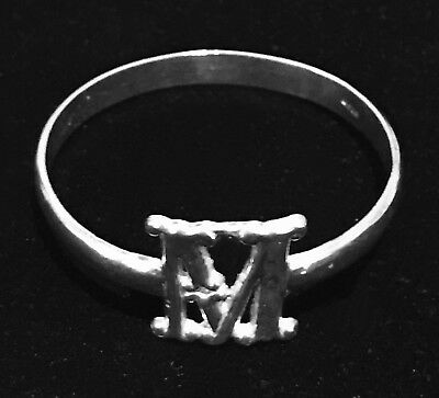 Vintage Sterling Silver M Cutout Monogram Napkin Ring