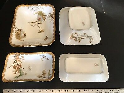 Set 4 FINE Antique Haviland Limoges Gold Hand Paint Autumn Floral Platter Bowls