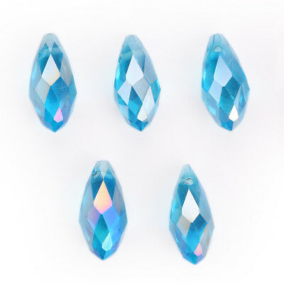 10pcs Lake Blue AB 20mm Faceted Teardrop Crystal DIY Spacer Beads New Findings B