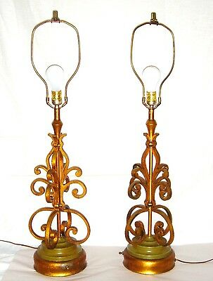 Vintage Hollywood Regency Gilded Wrought Iron Italian C Scroll Table Lamps