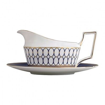 Wedgwood Renaissance Gold Gravy Boat and Stand Tray New with Tag (2) Two Piece