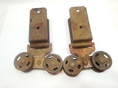 Antique Barn Door Rollers Hangers Rusty Set of 2 Vintage