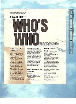"""Vintage R. NIXON-era Document: """"A WATERGATE WHO'S WHO"""" 4-pages incl. FBI, CIA +"""