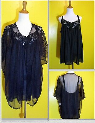 Sexy Pin-up CACHET Vintage 1960s Baby Doll Nightie with Sheer Robe - Sz L - USA