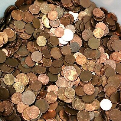 5 lbs of 1 & 2 CENT EURO EU Coins bulk lots by the pound! Mixed Dates & Designs