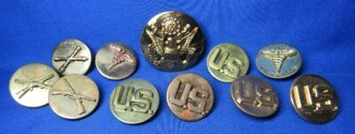 Pre-WWII Army Infantry, Medical, Artillery Enlisted Discs & Hat Badge Lot Of 11