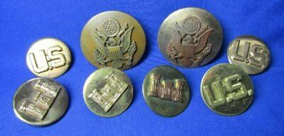 Pre-WWII 1930s Army Engineer Enlisted Disc Sets & Hat Badges Lot Of 8