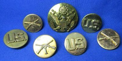 Pre-WWII 1930s Army Infantry I Company Enlisted Disc Sets & Hat Badge Lot Of 7