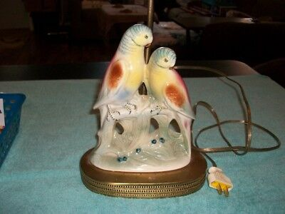 "Vintage 12"" Tall Table Lamp Two Parakeets Old Plug End Felt Oval Bottom Works"