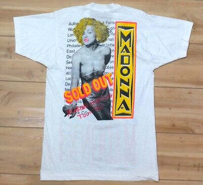Vtg 1990 Madonna Blazing Ambition Tour VNeck T Shirt L (Fits Slim) Two Sided Tee