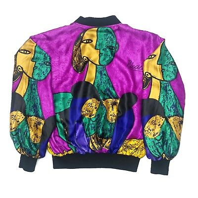 Vtg 80s 90s Picasso Silky Jacket Fits Size M All Over Print Bomber Windbreaker
