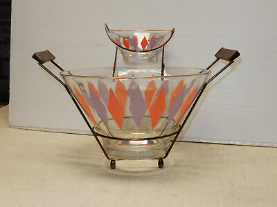 Mid Century Modern Glass And Teak Chip And Dip Bowl Set