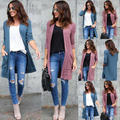 Womens Ivory Cardigan Sweater Duster Slouchy Pockets Wear With