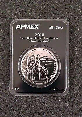 2018 1 oz Silver Landmarks of Britain - Tower Bridge - APMEX MintDirect Single