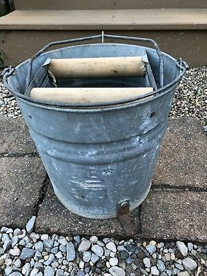 Vintage Antique Galvanized Metal Mop Bucket with Wood Ringer Rollers Foot Pedal