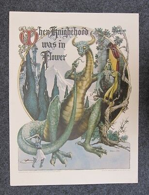 "1975 GEORGE BARR ""WHEN KNIGHTHOOD WAS IN FLOWER POSTER **17 x 22** **ORIGINAL**"