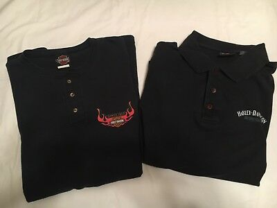 Harley Davidson Men's 3button T Shirt Black Lot of 2 SIZE 2XL