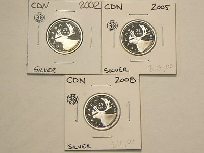 2002 2005 2008 Canada 25 Cents Lot of 3 Silver Proof  Coins  #G738