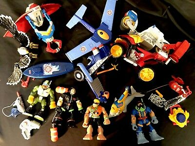 Big Lot Of Fisher Price Rescue Heroes & Vehicles Beach Lifeguard Scuba Dolphin