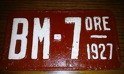 1927 oregon motorcycle license plate