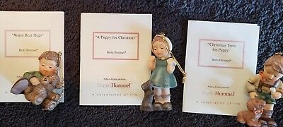 Vintage Lot of 3 Berta Hummel, 1999  Goebel Christmas Tree Ornaments W/coas