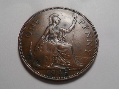 1945 Nice Great Britain Bronze One Penny Mintage 79,531,000!