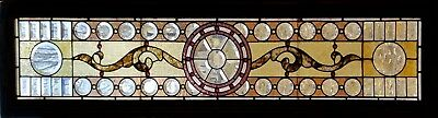 Antique American Stained and Beveled Glass Transom
