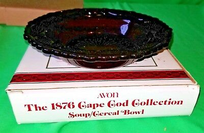 Avon Cape Cod Soup Cereal Bowl Ruby Red NIB 1876 collection