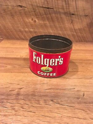 Vintage Folgers Coffee Tin Can Without Lid, Copyright 1952