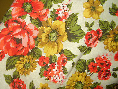 Vintage Mid Century Tablecloth with Fringe Bright Floral Red, Yellow, Gold