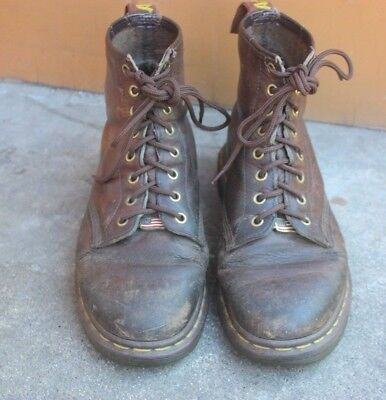 Vtg Dr Doc Martens Brown Boots Made in England 8 Eye Leather UK 7 US 8/9