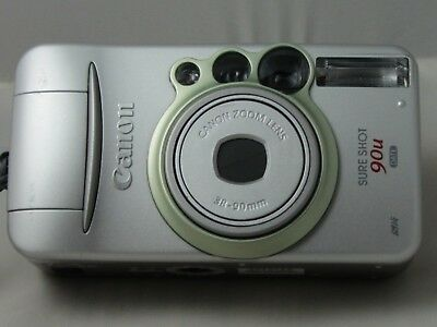 Canon Sure Shot 90U 35mm Point/Shoot Film Camera 38-90mm Zoom Wrist Strap & Case