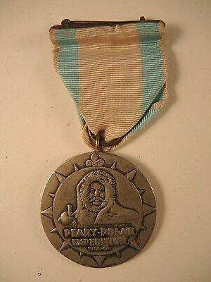 Rare Peary-Polar expedition medal 1906-09 with wrap broach