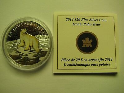 2014 Proof $20 Iconic Polar Bear Coloured Canada COIN&COA ONLY .9999 silver twen