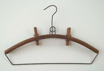 Vintage Wood Clothes Hanger w/Removable Pants Clip Advertising Ottawa Illinois
