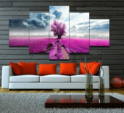 5pcs CANVAS PURPLE LAVENDER FIELD Wall Art Picture Printed Poster Home Decor
