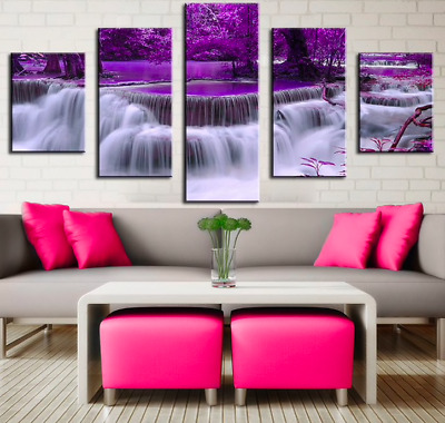 Purple Tree Waterfall Landscape 5 Piece Canvas Art Print Picture Wall Decor
