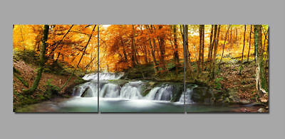 Yellow Fall Forest Waterfall 3 Piece Canvas Wall Art Picture Painting Home Decor