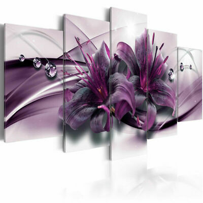 Abstract Modern Purple Flower  5 Pcs Canvas Wall Art Print Picture Home Decor