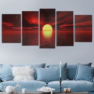 Sunset in the Nature Sea Landscape 5 Piece Canvas Art Print Picture Wall Decor