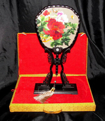 Vintage Japanese Embroidered Silk Fan in Glass with Stand