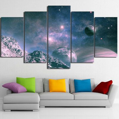 Universe Space Planet Starry Sky 5 Piece Canvas Wall Art Print Poster Home Decor