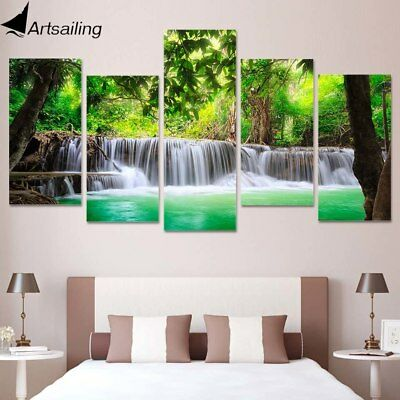 Green Water Tree Scenery Nature 5 Piece Canvas Framed Print Wall Art Home Decor