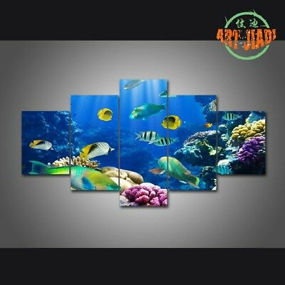 5pcs CANVAS UNDERWATER WORLD Wall Art Picture - Natural Printed Home Decor