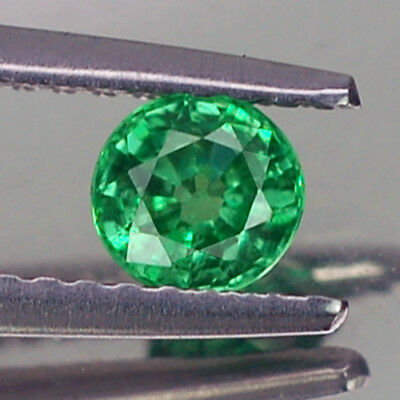 0.40Ct Lovely Vvs Round Unheated Green Tsavorite Garnet Natural
