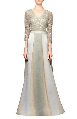 Kay Unger Women's Gown in Pewter Gold Cream Beige Lace Sequin Bodice Size 8 NWT