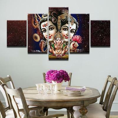 Parvati - Ganesh - Shiva 5 Piece Canvas Art Wall Art Picture Painting Home Decor